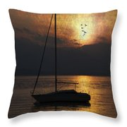 Boat In Sunset Throw Pillow