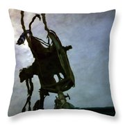 Boat Reflections In Oily Sea Throw Pillow