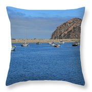 Boats And Blue Water Throw Pillow