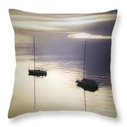 Boats In Mist Throw Pillow
