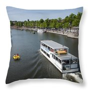 Boats On River Dee Throw Pillow