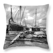 Boats On The Hard Pin Mill Throw Pillow