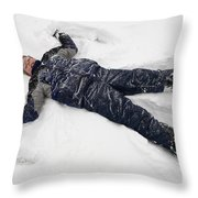 Boy And Snow Angel Throw Pillow
