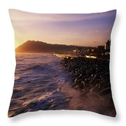 Bray Promenade, Co Wicklow, Ireland Throw Pillow