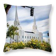 Brigham City Temple Street Lights Throw Pillow