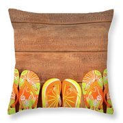 Brightly Colored Flip-flops On Wood  Throw Pillow