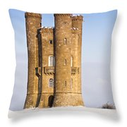 Broadway Tower In Winter Snow Throw Pillow