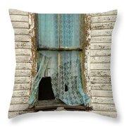 Broken Window In Abandoned House Throw Pillow by Jill Battaglia