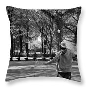 Bubble Boy Of Central Park In Black And White Throw Pillow