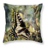 Butterfly On Yellow Flowers Throw Pillow