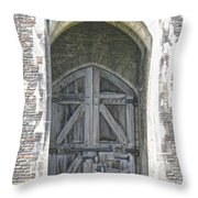 Caerphilly Castle Gate Throw Pillow
