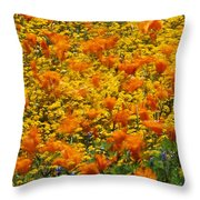 California Poppies And Goldfields Dance Throw Pillow