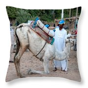 Camel Riders Throw Pillow