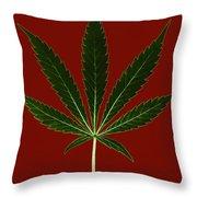 Cannabis Sativa, Marijuana Leaf Throw Pillow
