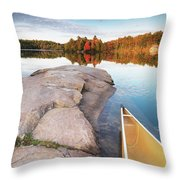 Canoe At A Rocky Shore Autumn Nature Scenery Throw Pillow