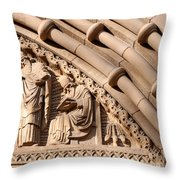 Carved Stone Biblical Mural Above Catholic Cathedral Doorway Throw Pillow