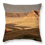 Castle Butte In Big Muddy Valley Of Saskatchewan Throw Pillow