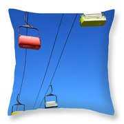 Chairlift Cars Throw Pillow
