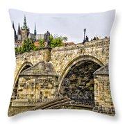 Charles Bridge And Prague Castle Throw Pillow