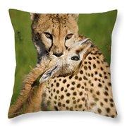 Cheetah Acinonyx Jubatus With Its Kill Throw Pillow