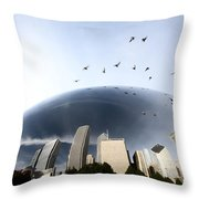 Chicago Cityscape The Bean Throw Pillow