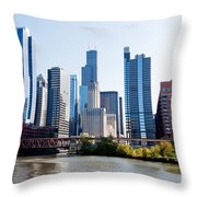 Chicago River Skyline With Sears-willis Tower Throw Pillow