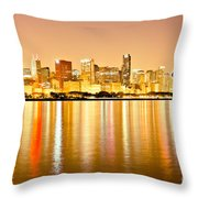 Chicago Skyline At Night Photo Throw Pillow