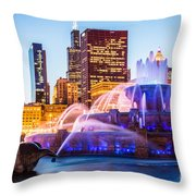 Chicago Skyline At Night With Buckingham Fountain Throw Pillow by Paul Velgos