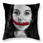 Chillies Throw Pillow by Joana Kruse