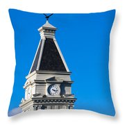 Clarksville Historic Courthouse Tower Throw Pillow