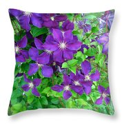 Clematis In Bloom Throw Pillow
