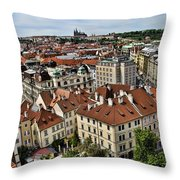 Clock Tower View - Prague Throw Pillow