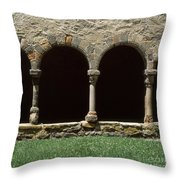 Cloister Of Lavaudieu. Haute Loire. Auvergne. France. Throw Pillow
