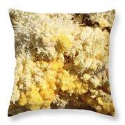 Close-up Of Yellow Salt Crystals Throw Pillow