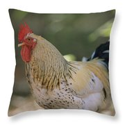 Close View Of A Rooster Throw Pillow