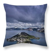 Clouds Over Crater Lake Throw Pillow