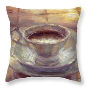 Coffee Cup Still Life Painting Throw Pillow