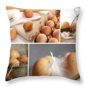 Collage Of Brown Eggs Images  Throw Pillow by Sandra Cunningham