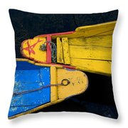Colorful Boats, Srinagar, Dal Lake Throw Pillow