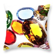 Colorful Gems Throw Pillow