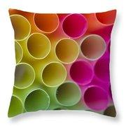 Colorful Straws Throw Pillow