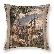 Columbus: Native Americans Throw Pillow