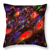 Computer Generated Blue Red Green Abstract Fractal Flame Modern Art Throw Pillow