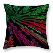 Computer Generated Red Green Abstract Fractal Flame Modern Art Throw Pillow
