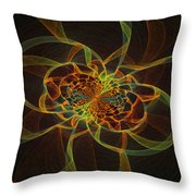 Computer Generated Yellow Vortex Abstract Fractal Flame Art Throw Pillow