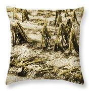 Cornfield After Hailstorm Throw Pillow