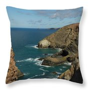 Cornish Seascape St Agnes  Throw Pillow