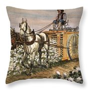 Cotton Harvester, 1886 Throw Pillow