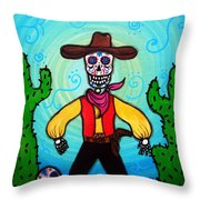 Cowboy Dia De Los Muertos Throw Pillow