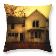 Creepy Abandoned House Throw Pillow